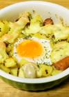巣ごもりエッグのチーズジャーマンポテト