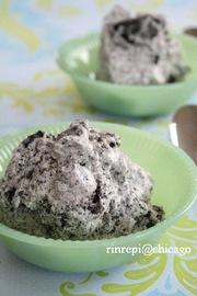 黒ゴマとオレオのアイスクリームの写真