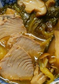 和食の一品!鰹とチンゲン菜 きのこの煮物