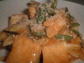 厚揚げと山菜のピリカラ炒め煮