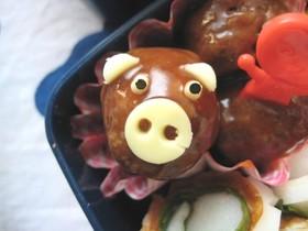 ミートボールで豚ちゃん♪(お弁当)