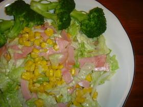 簡単♪ベーコンとコーンのレタスサラダ