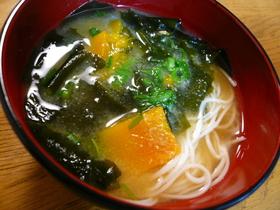 素麺とかぼちゃのお味噌汁
