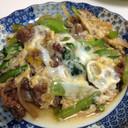 牛肉と青菜の卵とじ