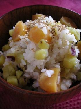 混ぜるだけ●薩摩芋と栗の混ぜご飯●冷ご飯