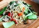 モヤシと青梗菜のしらすペペロンチーノ