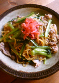 小松菜の上海風焼きそば♪