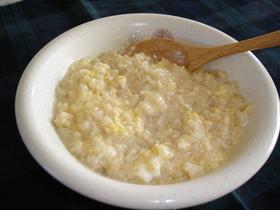 豆乳で中華風玄米たまご雑炊