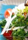 菜の花と新玉のサラダ*わさびドレッシング