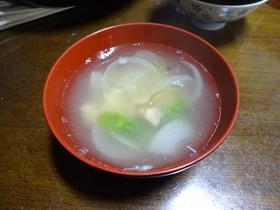 新たまねぎと鮭缶の和風スープ