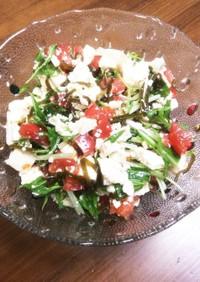 水菜と豆腐とトマトと塩昆布のサラダ