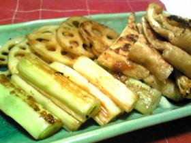 焼くだけ♪ネギ&レンコン&油揚げの味噌焼