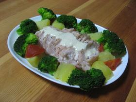 ソースが決めて❤チキンと温野菜のサラダ