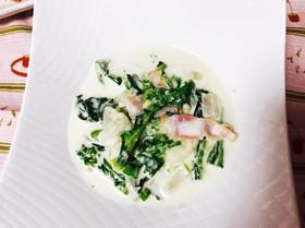 簡単!菜の花、新玉ねぎ、カブのクリーム煮