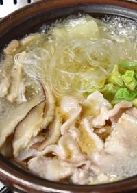 白菜と春雨、お肉、椎茸でピエンロー鍋