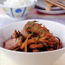 豚ヒレ肉とごぼうの山椒風味炒め
