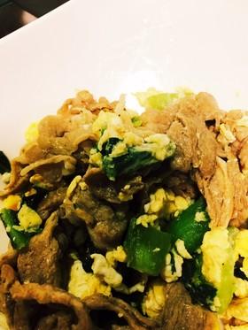卵入り☆豚とチンゲン菜の中華風炒め