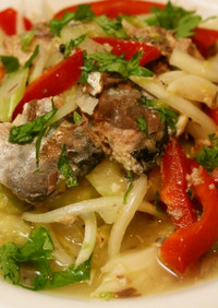サバ缶と野菜の甘夏マリネ
