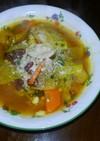煮小豆を入れた朝のスープ