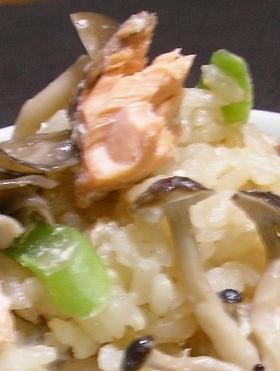 秋鮭の豆乳炊き込みご飯
