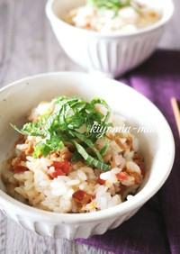 カリカリ梅とツナの和風混ぜご飯。