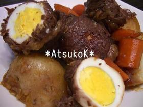 お鍋で煮るだけ♪ゆで卵の肉巻き(^_^)