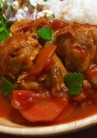 鶏肉と春キャベツのトマト煮込み♡
