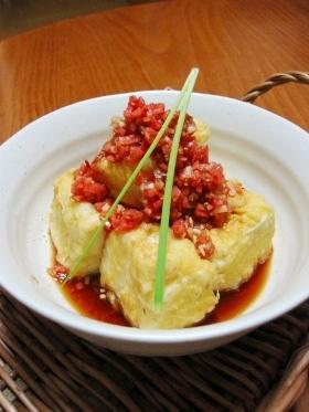 紅しょうが消費に♪ 揚げ豆腐の巻