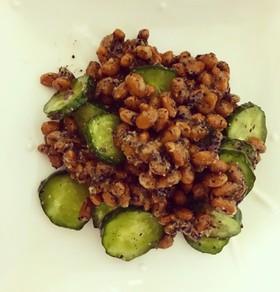 簡単節約 納豆とキュウリのゆかりナムル