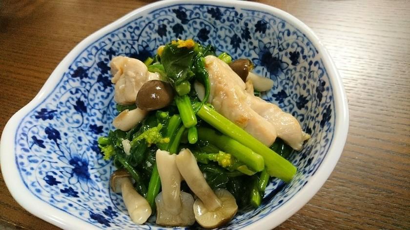 のらぼう菜と鶏肉の塩ダレ炒め