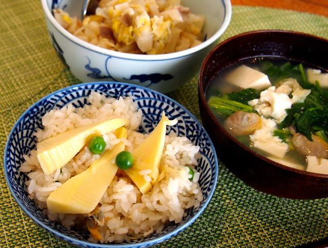 筍と浅蜊とグリーンピースのご飯
