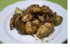 レンコン&きゅうり&鶏肉のごま味噌炒め