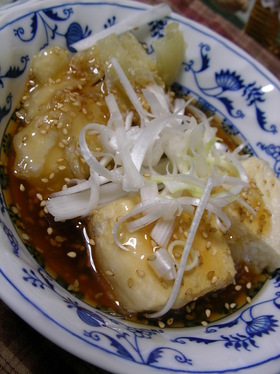【男の料理】かき揚と揚げ出し豆腐