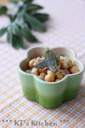 ひよこ豆とベーコンのセージソテー