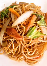 屋台風シャキシャキ野菜の簡単醤油焼きそば