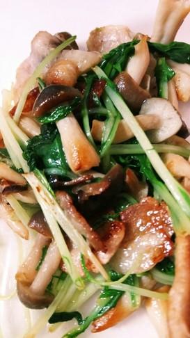 水菜と豚のちょい塩炒め