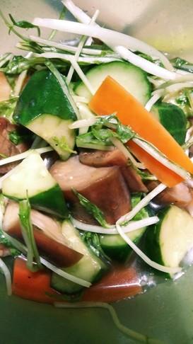 水菜とナスのほんのり醤油マリネ