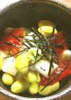 秘伝豆(青大豆)、漬け鮪、山芋の小鉢