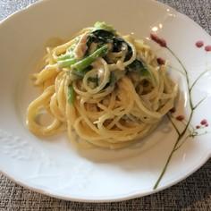 ツナと小松菜の簡単クリームパスタ