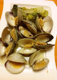 青梗菜とホンビノス貝の生姜酒蒸し