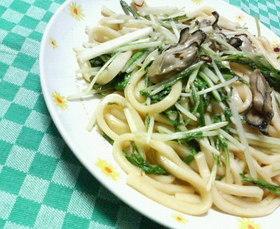 ✿牡蠣と水菜の❀あっさり和風✿焼きうどん