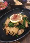 菜の花と筍・鶏のレモンバター醤油炒め