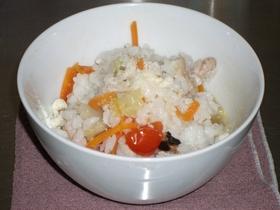 野菜スープが余ったら、簡単リゾットに変身