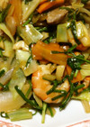 塩麹+豚モモ一口カツ用+海老で中華炒め