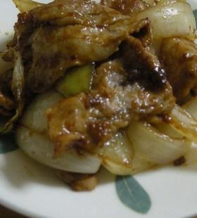 うなぎのたれで、豚肉とたまねぎの炒め物