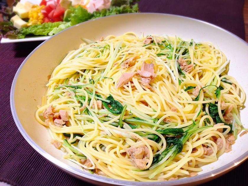 簡単☆水菜とツナのパスタ*特製ソース
