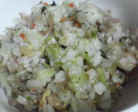 白菜の漬物でチャーハン