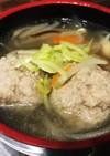 アレンジ 餃子の具で肉団子中華スープ