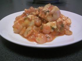 豆腐とエビのチリソース