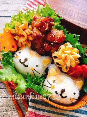 【キャラ弁】ブチ猫おにぎり弁当